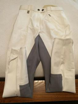 Cavallo Chirac White With Gray Full Seat Show Breeches  Wome