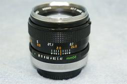Canon FD 50mm f1.4 Chrome Nose Breech Mount Lens
