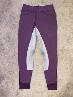 Hadley by Smartpak full seat breeches, purple w/ rose color,