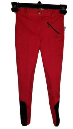 NEW ASHLEY KID'S COTTON KNEE PATCH BREECHES, RED, CHILD'S SI